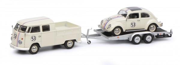"""VW T1b Doppelkabine mit Hänger und Ovali Käfer """"53-Racing"""", beige"""