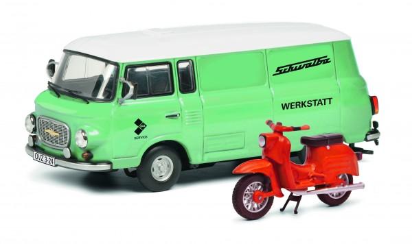 """Barkas B1000 Bus """"Schwalbe Werkstatt"""" mit Schwalbe"""