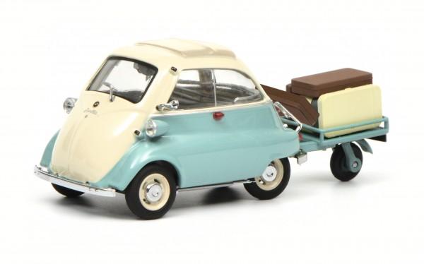 """BMW Isetta mit Anhänger und Gepäck """"Auto-Porter"""", grün-beige"""