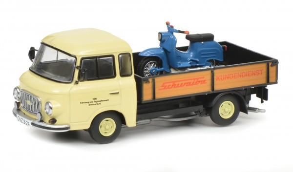 """Barkas B1000 Pritschenwagen """"Schwalbe-Kundendienst"""" mit Piccolo Schwalbe KR51"""