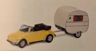 VW Käfer Cabriolet mit Wohnwagen